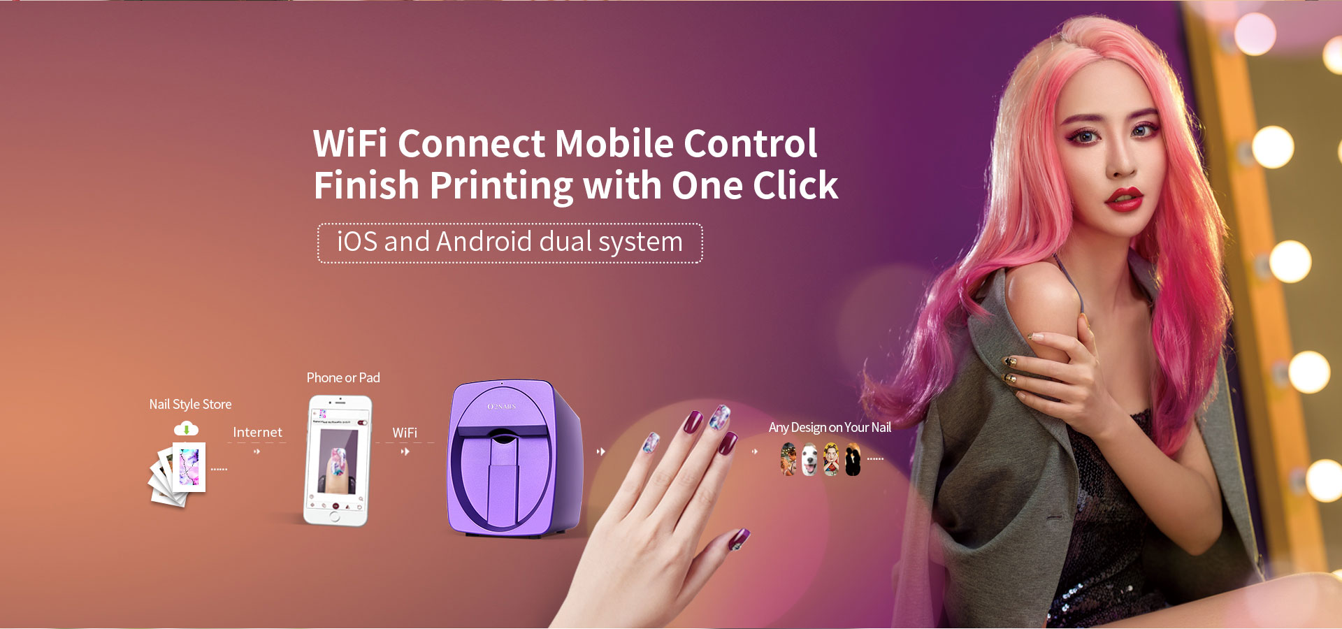 wifi connect mobile control finish printing with one click